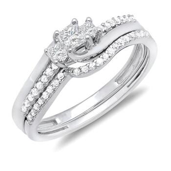 Trang sức Dazzling Rock Nữ Vàng trắng 10K Princess Cut Silver-tone Kim cương Wedding Set Nhẫn chính hãng sale giá rẻ Hà nội TPHCM