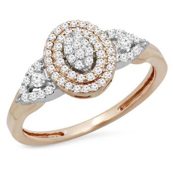 Trang sức Dazzling Rock Nữ Vàng trắng 14K Round Cut Silver-tone Kim cương Nhẫn đính hôn chính hãng sale giá rẻ Hà nội TPHCM