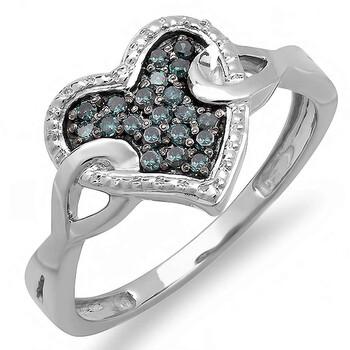 Trang sức Dazzling Rock Nữ 925-Sterling Bạc 925 Round Cut Kim cương xanh Promise Nhẫn chính hãng sale giá rẻ Hà nội TPHCM