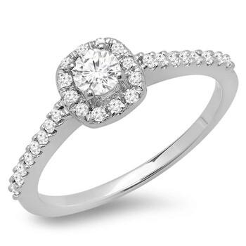 Trang sức Dazzling Rock Dazzlingrock Collection 0.50 Carat (ctw) 14K Round Kim cương Nữ Halo Bridal Nhẫn đính hôn 1/2 CT