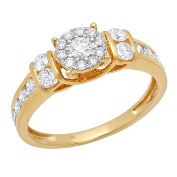 Trang sức Dazzling Rock Nữ Vàng 14K Round Cut Silver-tone Kim cương Nhẫn đính hôn chính hãng sale giảm giá sỉ rẻ nhất ở Hà nội TPHCM
