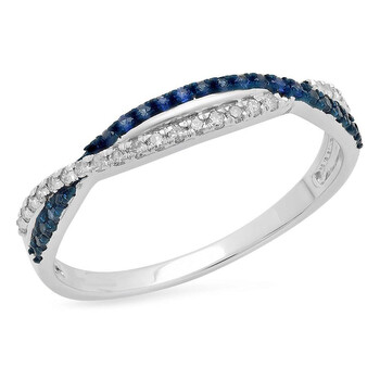 trang sức Dazzling Rock Nữ Vàng trắng 10K Round Cut Blue Sapphire Nhẫn cưới chính hãng sale giá rẻ tại Hà nội TPHCM