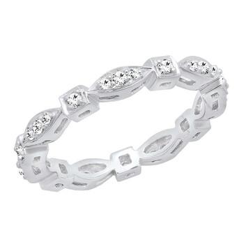 Trang sức Dazzling Rock Nữ Vàng trắng 10K Round Cut Silver-tone Kim cương Nhẫn cưới chính hãng sale giá rẻ Hà nội TPHCM