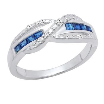 Trang sức Dazzling Rock Nữ 925-Sterling Bạc 925 Round Cut Silver-tone Kim cương Nhẫn đính hôn chính hãng sale giá rẻ Hà nội TPHCM