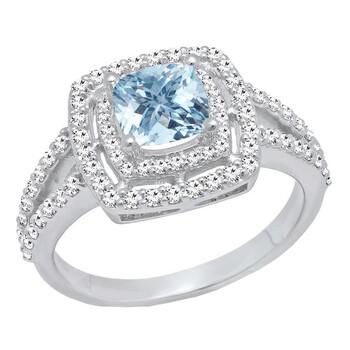 Trang sức Dazzling Rock Dazzlingrock Collection 10K 6 MM Cushion Aquamarine & Round Kim cương trắng Nữ Halo Nhẫn đính hôn