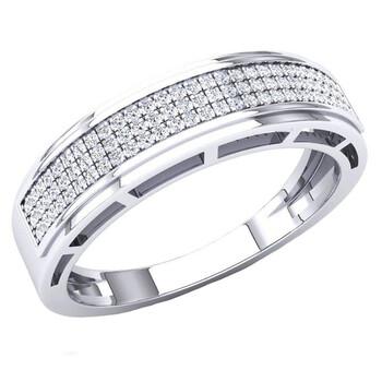 Trang sức Dazzling Rock Nam Vàng trắng 10K Round Cut Silver-tone Kim cương Nhẫn cưới chính hãng sale giá rẻ Hà nội TPHCM