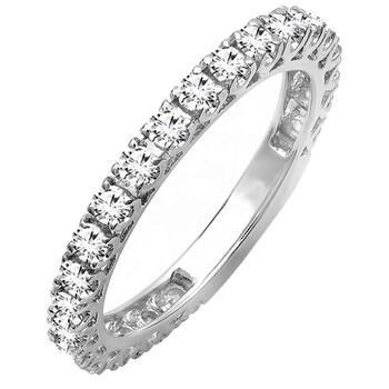 Trang sức Dazzling Rock Nữ Vàng trắng 14K Round Cut Silver-tone Kim cương Nhẫn cưới chính hãng sale giảm giá sỉ rẻ nhất ở Hà nội TPHCM