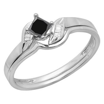 trang sức Dazzling Rock Nữ Vàng trắng 14K Princess Cut Kim cương đen Wedding Set Nhẫn chính hãng sale giá rẻ tại Hà nội TPHCM