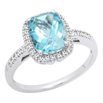 Trang sức Dazzling Rock Dazzlingrock Collection 10K 9X7 MM Cushion Blue Topaz & Round Kim cương Bridal Halo Nhẫn đính hôn