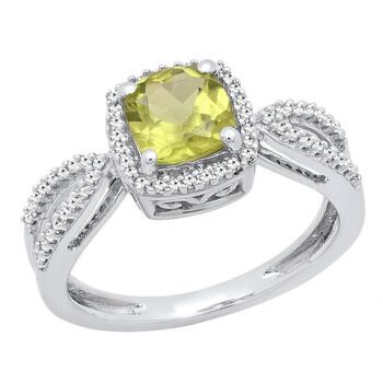 Trang sức Dazzling Rock Nữ Vàng trắng 10K Round Cut Silver-tone Kim cương Nhẫn đính hôn chính hãng sale giá rẻ Hà nội TPHCM