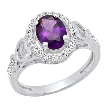 Trang sức Dazzling Rock Nữ 10k Gold Oval Cut Purple Amethyst Nhẫn đính hôn chính hãng sale giảm giá sỉ rẻ nhất ở Hà nội TPHCM