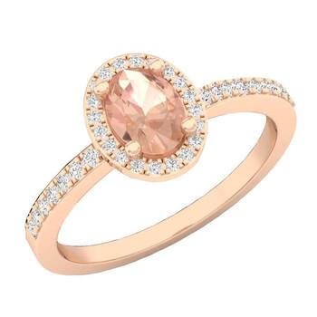Trang sức Dazzling Rock Nữ 10k Gold Pink Morganite Nhẫn đính hôn chính hãng sale giá rẻ Hà nội TPHCM