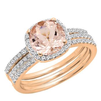 Trang sức Dazzling Rock Nữ Vàng 14K Pink Morganite Wedding Set Nhẫn chính hãng sale giảm giá sỉ rẻ nhất ở Hà nội TPHCM