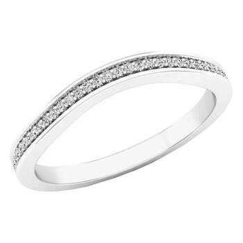 trang sức Dazzling Rock Dazzlingrock Collection 0.10 Carat (ctw) 14K Round Kim cương Nữ Anniversary Wedding Band 1/10 CT, Vàng trắng, chính hãng sale giá rẻ tại Hà nội TPHCM