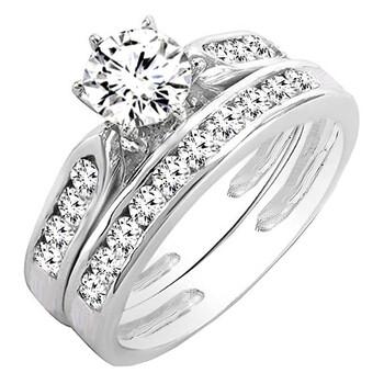 Trang sức Dazzling Rock Dazzlingrock Collection 1.15 Carat (ctw) 14K Round Kim cương trắng Nữ Bridal Nhẫn đính hôn Set, Vàng trắng, chính hãng sale giảm giá sỉ rẻ nhất ở Hà nội TPHCM