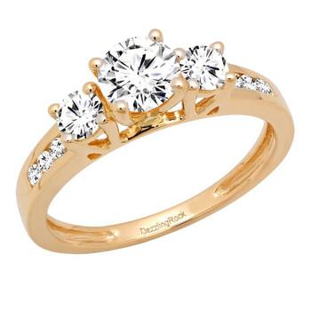 Trang sức Dazzling Rock Dazzlingrock Collection 1.15 Carat (ctw) 14K Round Kim cương trắng Nữ 3 Stone Nhẫn đính hôn