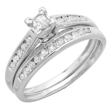 Trang sức Dazzling Rock Dazzlingrock Collection 0.55 Carat (ctw) 10K Princess & Round Kim cương Nhẫn đính hôn nữ cưới Set, Vàng trắng, chính hãng sale giảm giá sỉ rẻ nhất ở Hà nội TPHCM