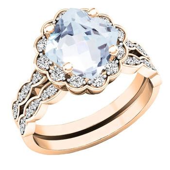 Trang sức Dazzling Rock Nữ 18k Gold Blue Aquamarine Wedding Set Nhẫn chính hãng sale giá rẻ Hà nội TPHCM