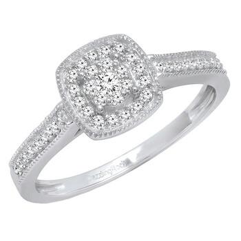 Trang sức Dazzling Rock Nữ 10k Gold Silver-tone Kim cương Nhẫn đính hôn chính hãng sale giảm giá sỉ rẻ nhất ở Hà nội TPHCM