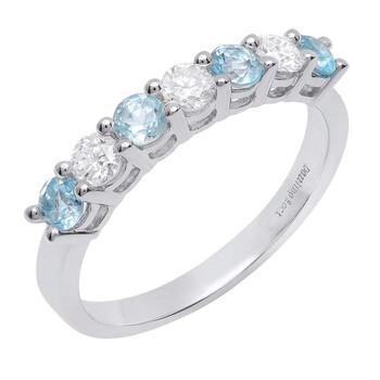 trang sức Dazzling Rock Dazzlingrock Collection 14K 3 MM Each Round Blue Topaz & Kim cương trắng Nữ 7 Stone Wedding Band, Vàng trắng chính hãng sale giá rẻ tại Hà nội TPHCM