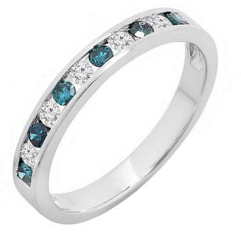 Trang sức Dazzling Rock 0.38 Carat (ctw) Vàng trắng 14K Round White & Kim cương xanh Nữ Nhẫn cưới Band (Size 7) chính hãng sale giá rẻ Hà nội TPHCM