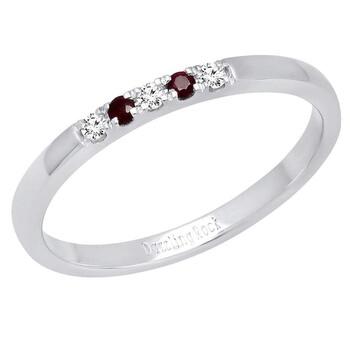 Trang sức Dazzling Rock 14K Round Ruby & Kim cương trắng Nữ Five Stone Anniversary Wedding Band