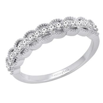 Trang sức Dazzling Rock 0.25 Carat (ctw) 10K Round Kim cương Nữ Vintage Style Wedding Band 1/4 CT