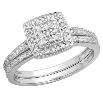 Trang sức Dazzling Rock Nữ 925-Sterling Bạc 925 Silver-tone Kim cương Nhẫn đính hôn chính hãng sale giảm giá sỉ rẻ nhất ở Hà nội TPHCM