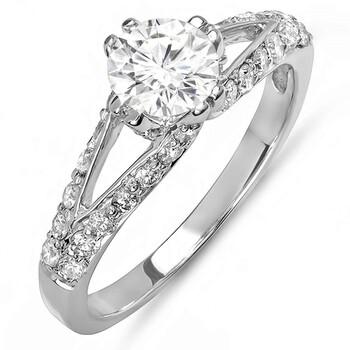 Trang sức Dazzling Rock Dazzlingrock Collection 1.25 Carat (ctw) 14K Round Kim cương Solitaire với Accents Bridal Nhẫn đính hôn