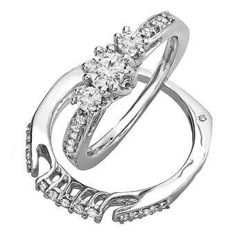 Trang sức Dazzling Rock Nữ Vàng trắng 14K Silver-tone Kim cương Wedding Set Nhẫn chính hãng sale giảm giá sỉ rẻ nhất ở Hà nội TPHCM