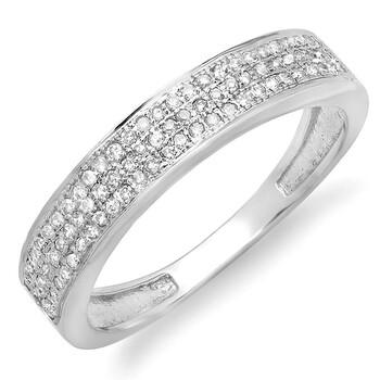 Trang sức Dazzling Rock Nữ Vàng trắng 10K Silver-tone Kim cương Nhẫn cưới chính hãng sale giá rẻ Hà nội TPHCM