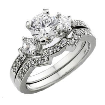 trang sức Dazzling Rock Nữ Vàng trắng 14K Silver-tone Kim cương Wedding Set Nhẫn chính hãng sale giá rẻ tại Hà nội TPHCM