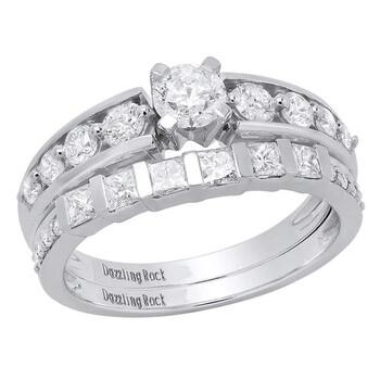 Trang sức Dazzling Rock Nữ Vàng trắng 14K Silver-tone Kim cương Wedding Set Nhẫn chính hãng sale giá rẻ Hà nội TPHCM