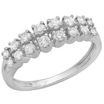 Trang sức Dazzling Rock Nữ Vàng trắng 14K Silver-tone Kim cương Nhẫn cưới chính hãng sale giá rẻ Hà nội TPHCM