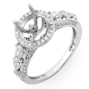 Trang sức Dazzling Rock Nữ Vàng trắng 18K Round Cut Silver-tone Kim cương Nhẫn đính hôn chính hãng sale giá rẻ Hà nội TPHCM