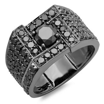 Trang sức Dazzling Rock Dazzlingrock Collection 4.50 Carat (ctw) 10K Round Cut Kim cương đen Nam Nhẫn, Vàng trắng, chính hãng sale giảm giá sỉ rẻ nhất ở Hà nội TPHCM