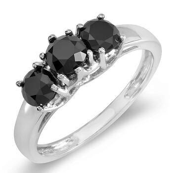 Trang sức Dazzling Rock Dazzlingrock Collection 1.30 Carat (ctw) 14K Đen Round Kim cương Three Stone Nhẫn đính hôn nữ