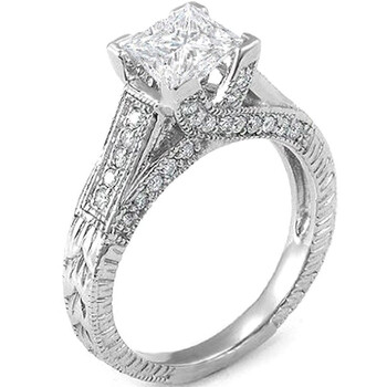 Trang sức Dazzling Rock Dazzlingrock Collection 1.18 Carat (ctw) 14k Princess & Round Kim cương Nữ Bridal Nhẫn; 0.74 CT center included