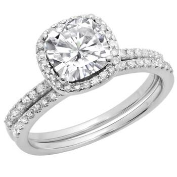 Trang sức Dazzling Rock Nữ Vàng trắng 10K White Sapphire Wedding Set Nhẫn chính hãng sale giá rẻ Hà nội TPHCM