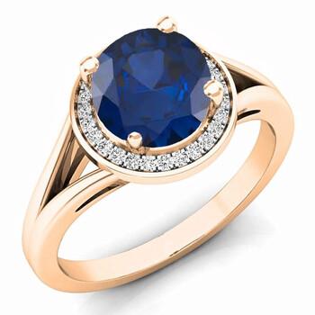 Trang sức Dazzling Rock Nữ Vàng hồng 14K Blue Sapphire Nhẫn đính hôn chính hãng sale giá rẻ Hà nội TPHCM