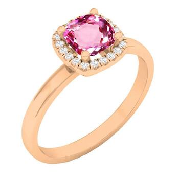Trang sức Dazzling Rock Dazzlingrock Collection 18K 5.3 MM Cushion Lab Created Pink Sapphire & Round Kim cương Nữ Nhẫn