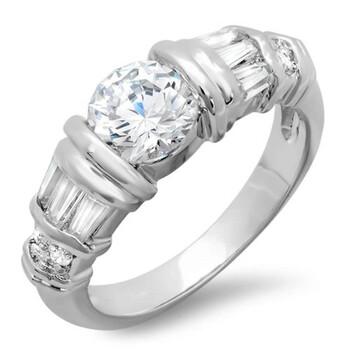 Trang sức Dazzling Rock 1.50 CT Classic Nữ Baguette và Round Cubic Zirconia CZ Nhẫn đính hôn (Available in chính hãng sale giá rẻ Hà nội TPHCM