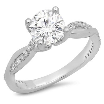 Trang sức Dazzling Rock Nữ Vàng trắng 14K Round Cut Silver-tone Nhẫn đính hôn chính hãng sale giá rẻ Hà nội TPHCM