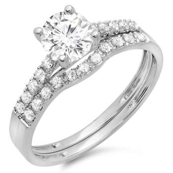 Trang sức Dazzling Rock Nữ Vàng trắng 14K Round Cut Silver-tone Wedding Set Nhẫn chính hãng sale giảm giá sỉ rẻ nhất ở Hà nội TPHCM