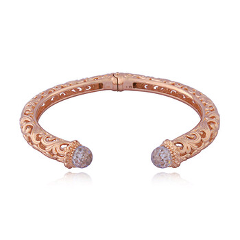 Trang sức Envie Vàng hồng 14K Over Bronze Cubic Zirconia Filigree Hinged Open Cuff Vòng đeo tay