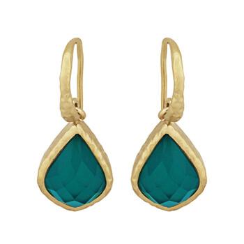 Trang sức Envie Vàng 18K Over Bronze Pear Cut Green Agate Doublet Dangle Bông tai (khuyên tai