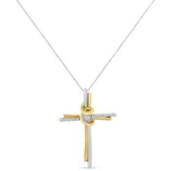 Trang sức Espira 10K Two-Tone Gold 1/15ct TDW Round Cut Kim cương Cross Pendant Dây chuyền (vòng cổ