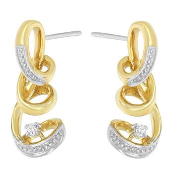 Trang sức Espira 10K Two Tone Gold 1/20ct TDW Round cut Kim cương Earring (I-J