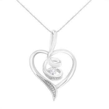 Trang sức Espira Vàng trắng 10K 1/25ct TDW Round-Cut Kim cương Swirl Heart Pendant Dây chuyền (vòng cổ