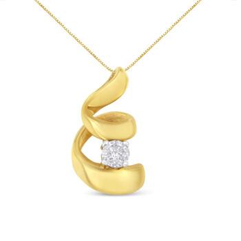 Trang sức Espira Vàng 10K 1/10ct TDW Round-cut Kim cương Pendant Dây chuyền (vòng cổ